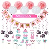 Baby Shower Decorations 40 pcs Kit for Girl | Assembled Banner | Party Photo Booth Props | Pink & White Flower Tissue Pom Poms | Swirls | Mommy To Be Sash | New Cute Design All in One Set Ready to Use