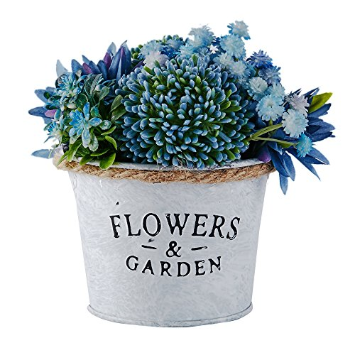 XIANL Blue Artificial Flowers Arrangements ,Together Delicate Fine Hand- Made Flower Pots can Decorate Your Kitchen, Dinning Room, Desk can Also be Wall-Mounted. -