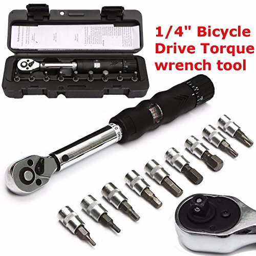 Bicycle Bike Torque Wrench, DRILLPRO 1/4-Inch Bicycle Bike Torque Wrench Socket Set Kit Allen Key Tool 2~14NM