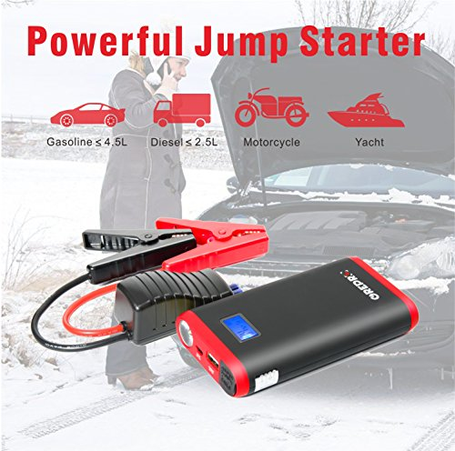 GREPRO Car Jump Starter 500A 12V Vehicle (Up to 4.5L Gas, 2.5L Diesel Engine) Smart Jumper Cable, Auto Battery Booster LED Flashlight, 9000mAh Portable Power Pack Quick Charge by GREPRO (Image #1)