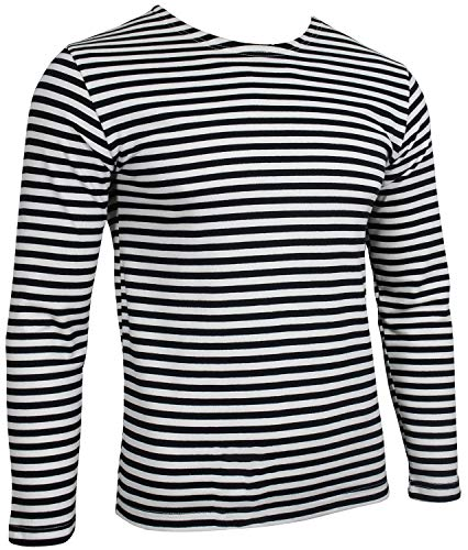 (Genuine Russian Marines Black Top - Striped Long Sleeved T-Shirt (42