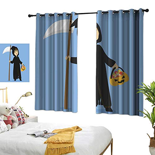 wwwhsl Personality Creative Bedroom 90% Blackout Curtains Halloween Grim Reaper Costume Vector Room Decoration Ideas W62.9 xL62.9 -