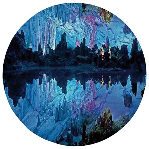 Round Rug Mat Carpet,Natural Cave Decorations,Illuminated Reed Flute Cistern with Artifical Crystal Palace Myst Cave Image,Blue,Flannel Microfiber Non-Slip Soft Absorbent,for Kitchen Floor Bathroom]()