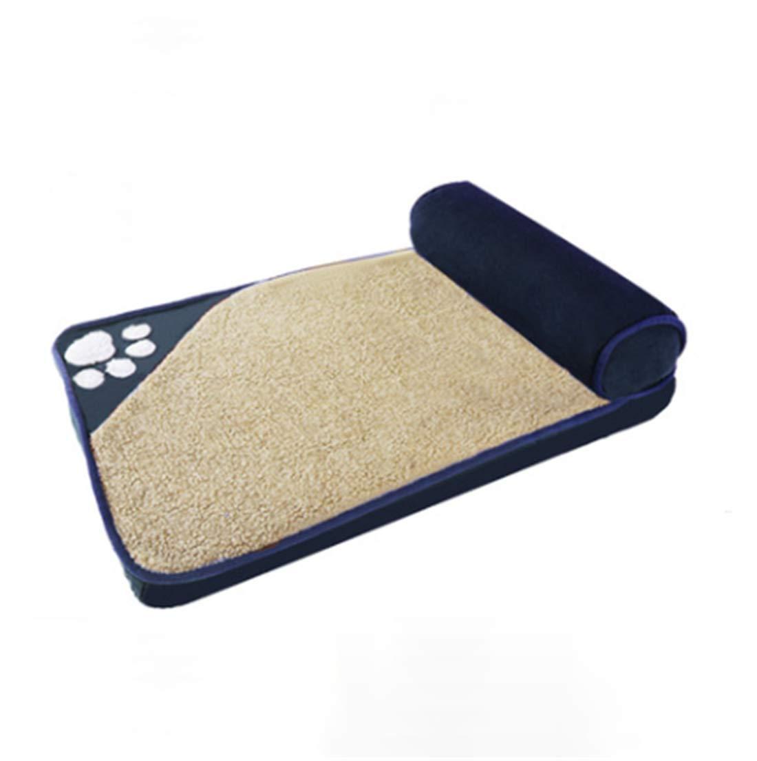 Tela De Oxford Perrera Cama De Almohada PP Cotton Filled Sueño Confortable Limpieza Desmontable Slip Inferior/Azul Marino / 4 Tamaños