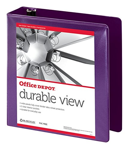 Office Depot Nonstick Round-Ring View Binder, 3in. Rings, 100% Recycled, Purple, OD06623
