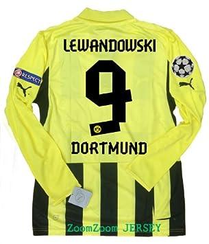 premium selection bb8a3 335b4 Lewandowski #9 Long Sleeve Borussia Dortmund 3rd UCL Jersey ...