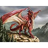 Paint by Number Kits - Red Dragon 16x20 Inch Linen Canvas Paintworks - Digital Oil Painting Canvas Kits for Adults Children Kids Decorations Gifts (No Frame)