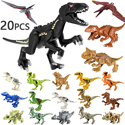 20 PCS Dinosaur Toys for 3 Year Olds, Jurassic World Dinosaur Toys Sets, Plastic Dinosaurs Toys Mini Dinosaur Figures for Kids Gift, Dino Fans,Deformation T-rex, Pterosaurs, Brachiosaurus, Triceratops