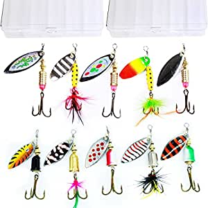 10pcs fishing lure spinnerbait bass trout for Amazon fishing spinners
