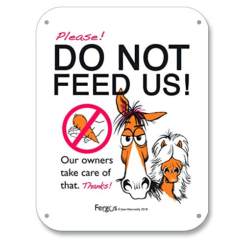 FERGUS The Horse Barn Stall Fence Sign, Do Not Feed Horses