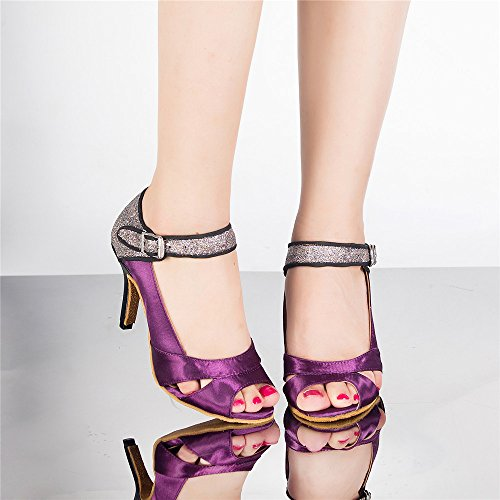 Interior Mujer Zapatos De Baile Zapatos De Baile Latino Purple 5cm