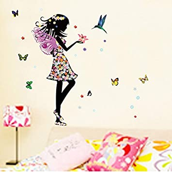 Alrens DIYTMAngel Wings Beautiful Girl Flowers Butterfly DIY Wall Stickers Removable Home Decoration