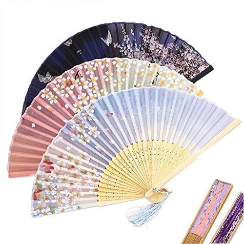 CocoStore Ladies Silk Folding Fan Plum Blossom Sakura Printed Bamboo Fans Japanese Style ( Color random)