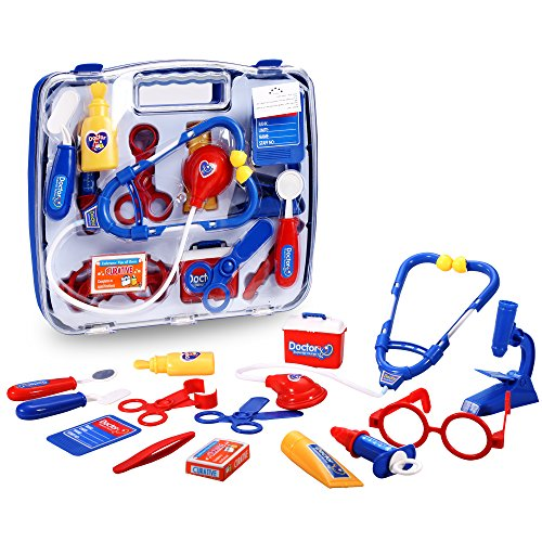 eshion Children Educational Toys Kit Doctor Nurse Medical Kit Pretend Play Set Toy (Blue) (Costume Role Playset)