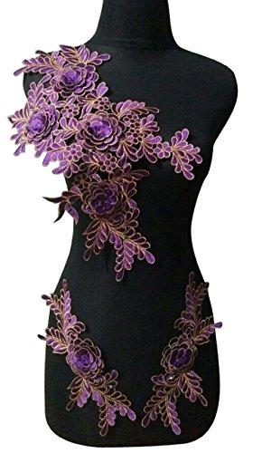 WUBU Lace Neckline Trim Applique Embroidery Patch Motif Embellishments Decorative Patches (Purple)