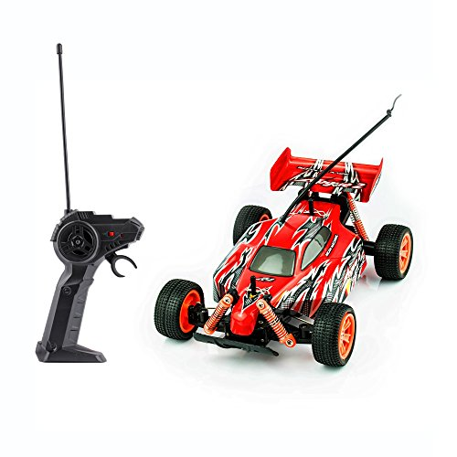 Spire Tech ST-471 RC Buggy Sand Car Remote Fast Racing Tyres Electric Radio Controlled On Off Road Indoor Outdoor Toy for Girls/Boys, Red, 1:18 Scale ()