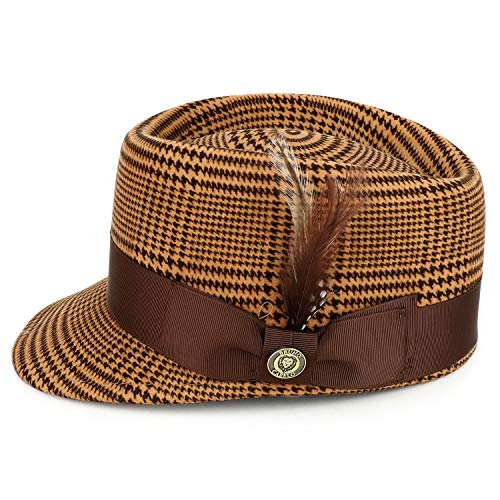 Trendy Apparel Shop Houndstooth Plaid Feather Grosgrain Band Military Wool Hat - Camel Brown - XL