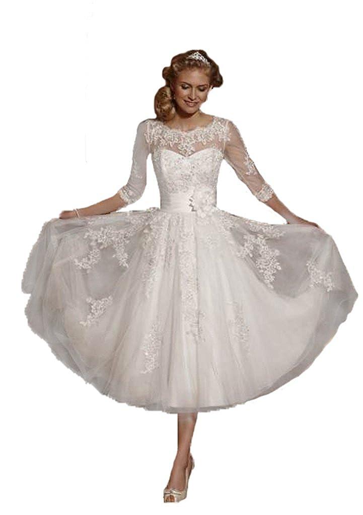 Zyjdress lace short tea length wedding dress bridal gowns at zyjdress lace short tea length wedding dress bridal gowns at amazon womens clothing store junglespirit Images