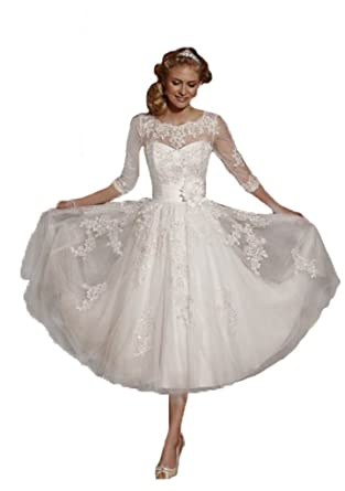 ZYJdress Lace Short Tea Length Wedding Dress Bridal Gowns