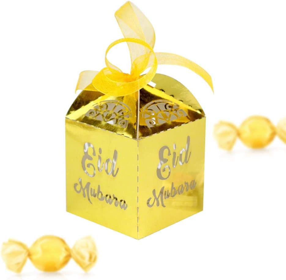 50 St/ück Geschenkbox Muslimischer S/ü/ßigkeitenbeh/älter Vorratsglas Nougat Vorratsdose Ramadan Snack Schachtel Durchbrochene Pralinenschachtel Aufbewahrungsbox Muslim Eid Islam Hadsch Dekoration