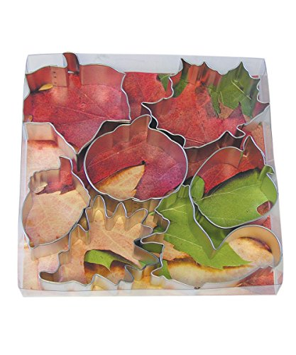 R&M International 1962 Autumn Leaf Cookie Cutters, Squirrel, Pumpkin, Acorn, Apple, Ivy, Pin Oak, Maple Leaf, 7-Piece Set -