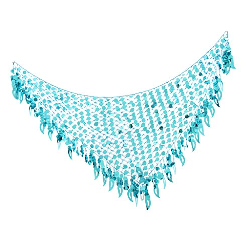 Fityle Indian Dancer Belly Dance Mermaid Scarf Sequins Mesh Triangle Hip Scarf For Holiday Festival - Blue, as described ()