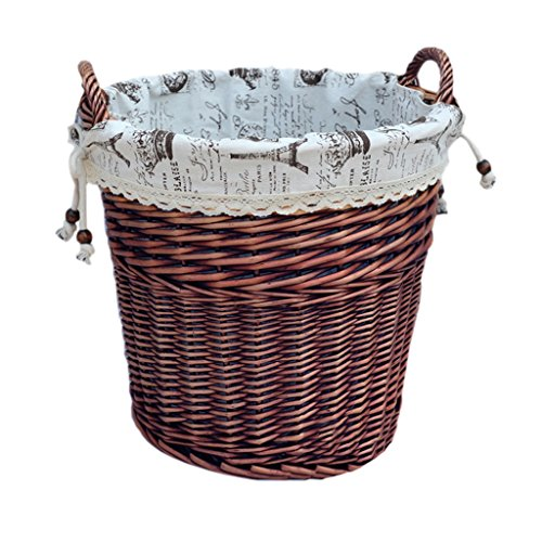 TYJY Handmade Dirty Clothes Storage Baskets, Rattan Toys Clothes Storage Bucket (Color : Brown, Size : Fiore)