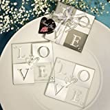 Set of 6 Mirror Finish Wedding & Party Love Coaster Set Favours - by Fashioncraft