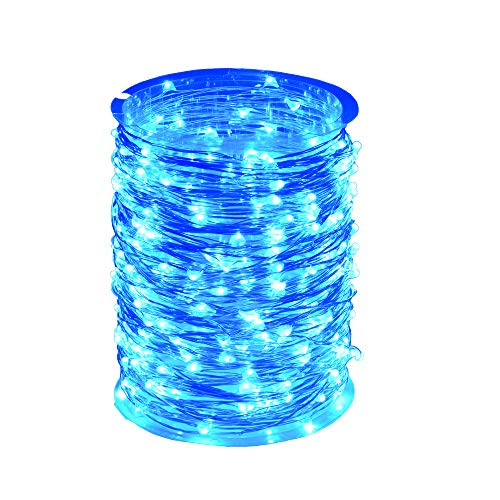 ZAECANY LED String Lights 99ft 300 LEDs Fairy String Lights for Bedroom, Patio, Indoor/Outdoor Completely Waterproof Copper Lights for Birthday, Wedding, Party Starry Lights UL Listed Blue ()