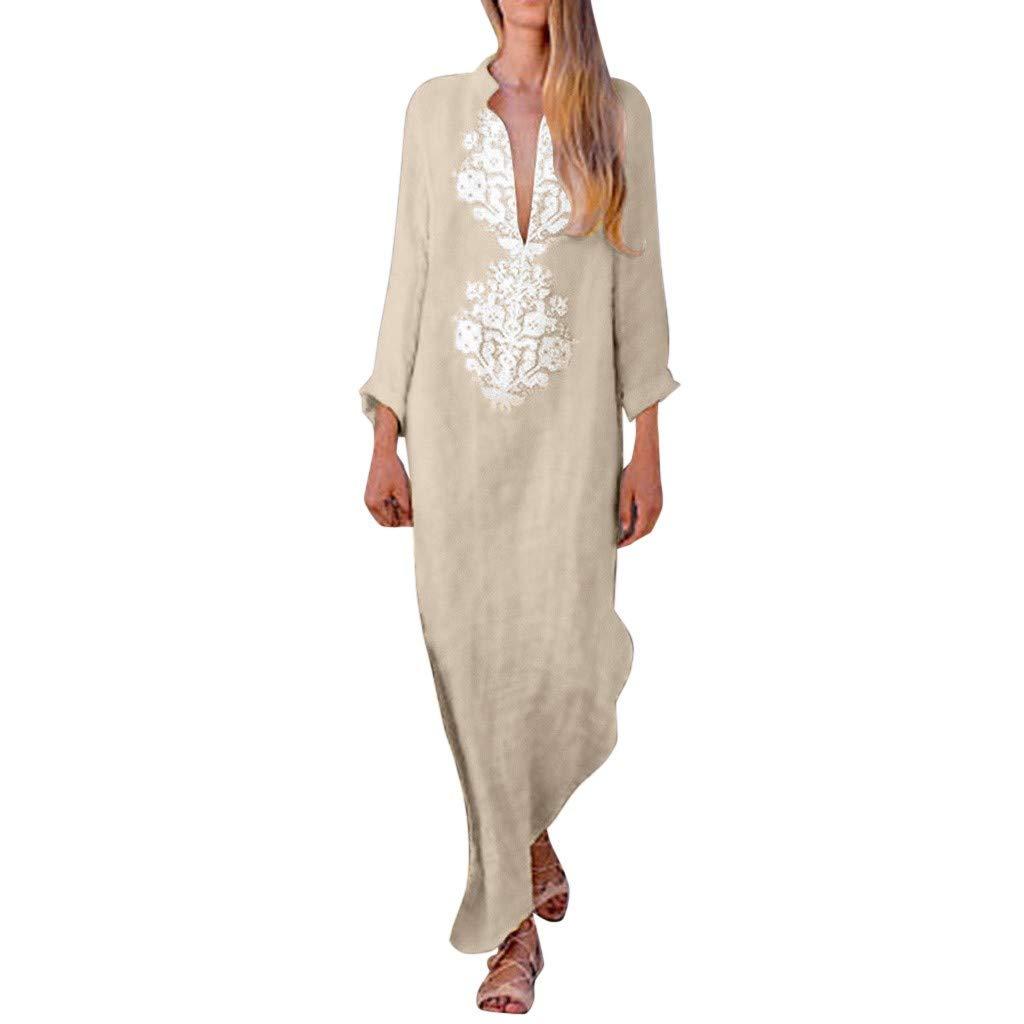Sunhusing Womens Summer Beach Wind Sexy Deep V-Neck Long-Sleeve Cotton Linen Bohemian Print Long Maxi Dress by Sunhusing