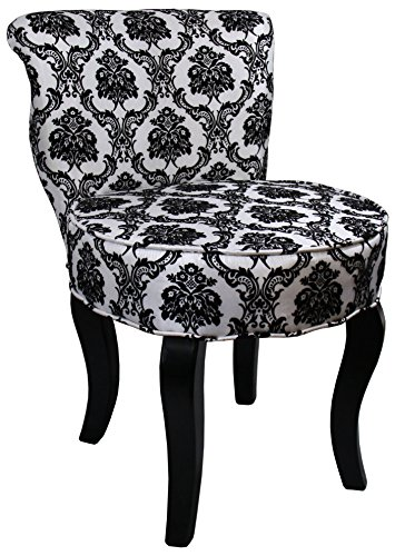 (ORE International HB4284 31-Inchfrench Damask Armless Accent Chair, Black/White,)