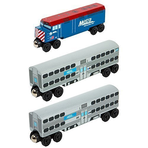 Chicago Metra F-40 Engine 3pc. Set - Wooden Toy Train by Whittle Shortline Railroad (F Train)