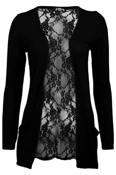 Amazon.com: Womens Black Lace Back Boyfriend Cardigan (Aqa) (8/10 ...
