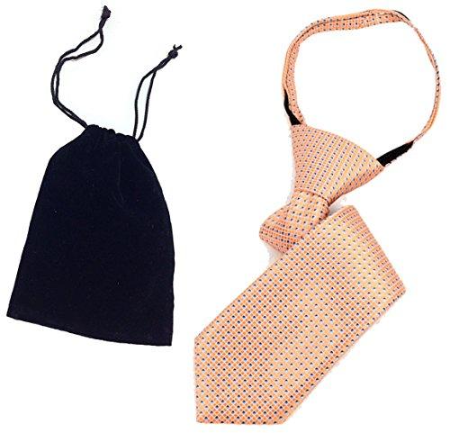 Boys 11'' Peach Dots Spring Holiday Zipper Novelty Necktie & Gift Bag by Distinctive Designs