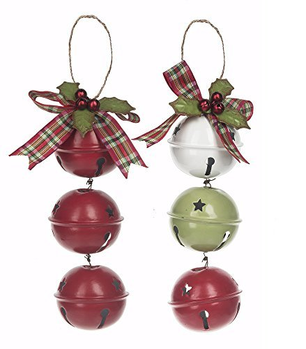 Set of 2 Red White and Green Jingle Bells with Holly Berry Christmas Ornaments
