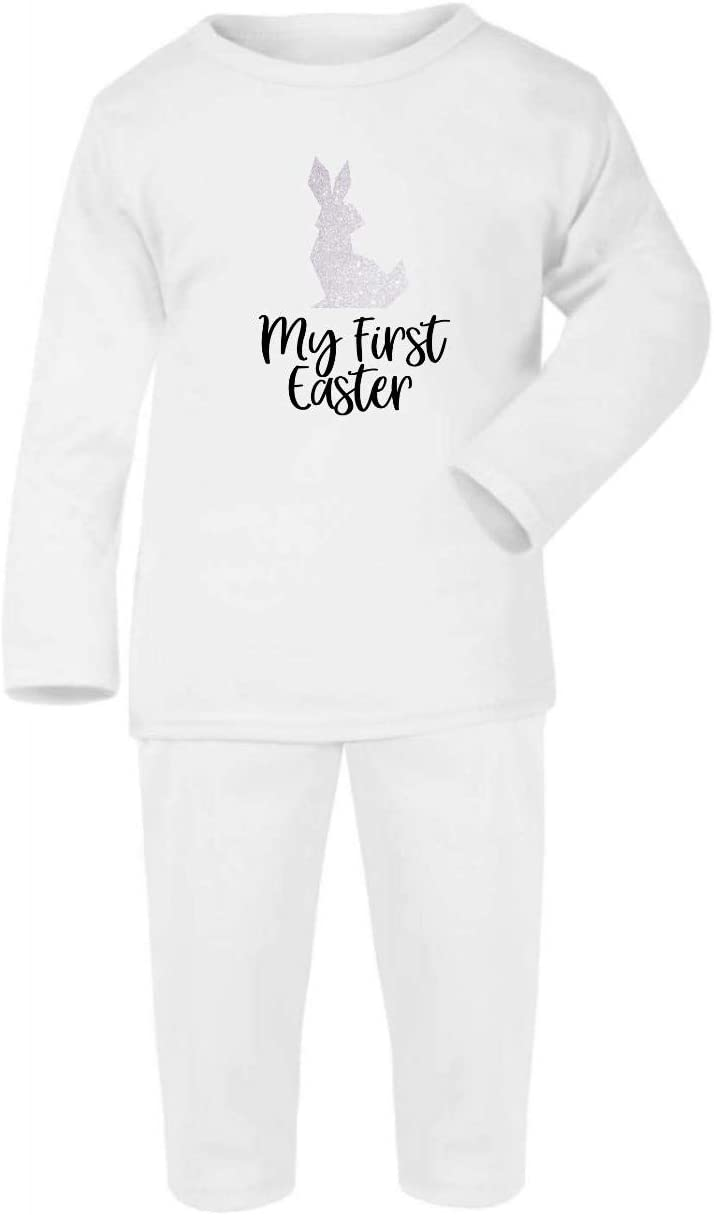 Grey 0-3 Months My First Easter Cotton Baby PJ Pajama Set Long Sleeve Glitter Low Poly Rabbit -