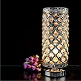 Surpars House Crystal Small Lamp Bedside Table Lamp for Bedroom,Living Room,Girls Room,Silver
