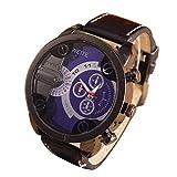 Creazy Fashion Luxury Mens Analog Sport Steel Case Quartz Leather Wrist Watch (Blue)