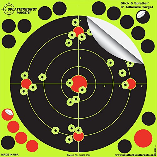 Splatterburst Targets - 8 inch Adhesive Stick & Splatter Reactive Shooting Targets - Gun - Rifle - Pistol - Airsoft - BB Gun - Pellet Gun - Air Rifle (50 Pack) (Paper Targets For Bb Guns)