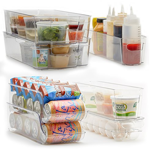 7-Piece Refrigerator and Freezer Storage Bin Set with Handles | Household and Kitchen Organization | High Quality Heavy Duty Plastic | BPA-Free