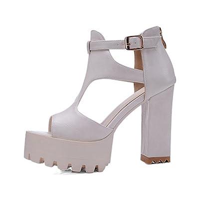 Womens Sandals Summer Platform High Heels Buckle Thick Heels Open Toe Shoes