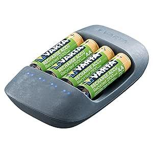 Varta Eco - Cargador para 4 Pilas Ni-MH AA/AAA, 50% Bioplástico (+4xAA 2100 mAh)