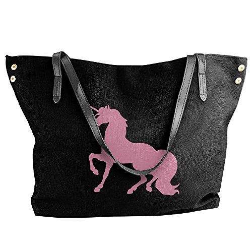 Shoulder Large Canvas Pink Black Unicorn Women's Messenger Bags Handbag Tote HZt5nqw