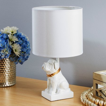 Silverwood Gold Accented Dog Resin Table Lamp with Shade