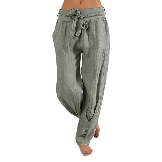d6fdcf7b5 Mujer Casual Suelto Harén Sólido Color Botón Deporte Pantalones Casual  Suelto Baggy Pantalones Anchos Moda Pantalones Largos Transpirables Pantalones  Mujer ...