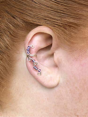 - Crystal Elf Ear Cuff No Piercing, Helix Ear Cuff Earrings with Glass Lavender Beads, Beaded Magic Elven Ear Wrap Jewelry
