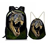 Showudesigns 17inch School Backpack and Drawstring Bag for Kids Boys Girls 3D Dinosaur Print Review