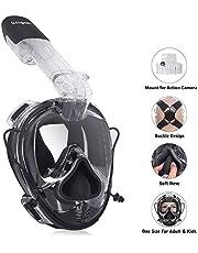 Unigear Tauchmaske Schnorchelmaske Einheitsgröße, gekniffene Silikonnase, Vollgesichtsmaske Tauchmaske Erwachsene und Kinder(ab 12), Kamerahaltung+ Aufbewahrungstasche