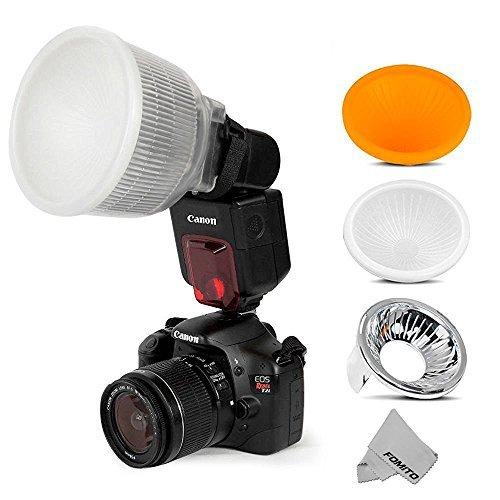 - Fomito Universal Cloud Lambency Flash Diffuser + 3 pcs Covers White, Silver & Orange Set for Flash Speedlite