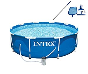 intex 10 x 30 metal frame set swimming pool with filter pump maintenance kit
